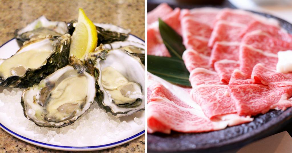 亜鉛を含む食材(牡蠣や牛肩、豚レバー)